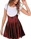 YOINS Falda Plisada de Mujer Falda Mini Skater Acampanada Vestido de Faldas de Tirantes Casuales de Moda Elástica Versátil Brillante borgoña XXL