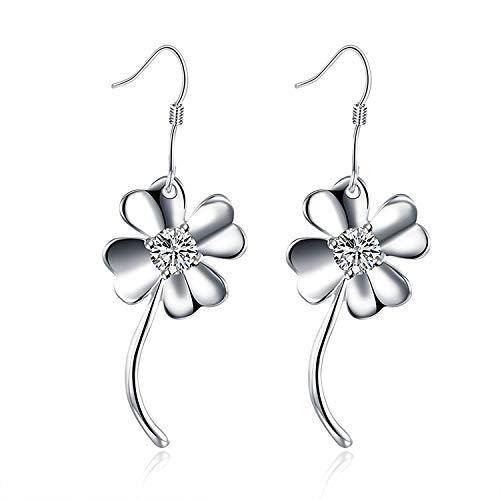 TIANYOU Novedad Joyas de plata plateadas Pendientes de aro Pendientes de plata Circonita cúbica en forma de corazón Flor de pétalos gota para el oído