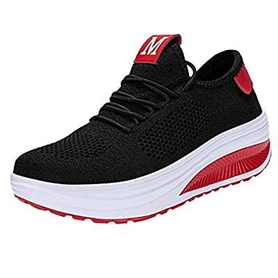 Women's Flying Weaving Breathable Air Cushion Sneakers Lady Soft Bottom Non-Slip Light Sport Shoes Student Working Shoes (Black, 7.5-Women-US)