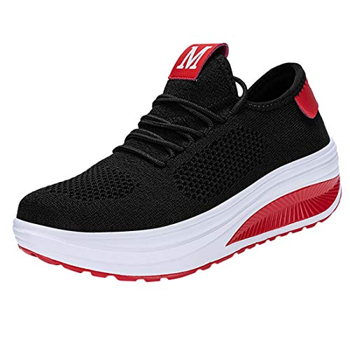 Women's Flying Weaving Breathable Air Cushion Sneakers Lady Soft Bottom Non-Slip Light Sport Shoes Student Working Shoes (Black, 6.5-7-Women-US)
