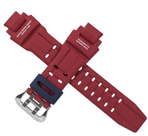 CASIO 10493627 Correa de reloj para G-Shock GRAVITYMASTER GA-1100 GA1100-2A, rojo/azul