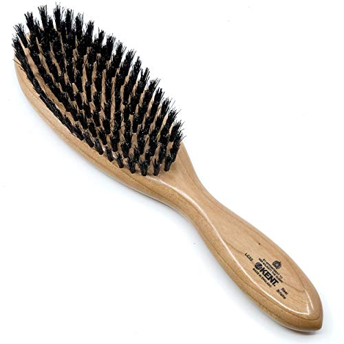 Price comparison product image Kent LC22 Finest Hair Brushes for Women Detangler Dry Brush Made of Cherrywood - Boar Bristle Paddle Hairbrush for Fine to Medium Hair - Royal Salon Style Straightening Pure Wood Brush from Kent
