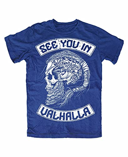 See You IN Valhalla T-Shirt Blue Front, Wolf of Odin, Berserker, Vikings, Ragnar