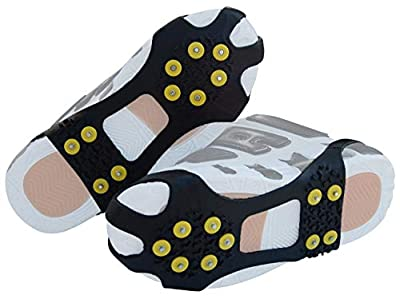JSHANMEI Walk Traction Cleat Snow Ice Grips Snow Cleats Crampons Anti Slip Stretch Footwear (10 Studs, XL)
