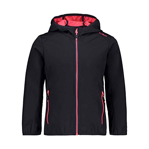 CMP Mädchen Softshell Jacket with Fixed Hood Jacke, Anthracite-Gloss, 164