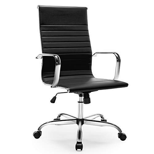 Office Chair, Ergonomic Office Desk Chair, Executive Ribbed Conference Home Office High Back Computer Chair with Pu Leather Lumbar Support Footrest Arms Wheels (Black)