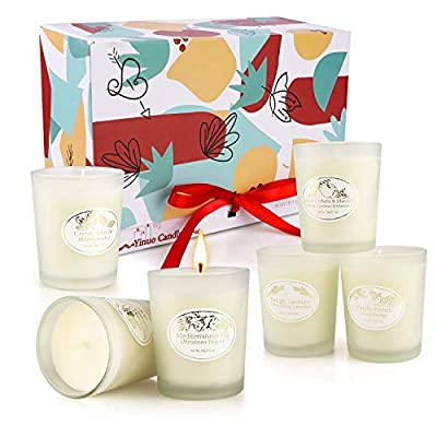 Scented Candles Gift Set, 6x2.5 Oz Small Candles Frosted Glass Cups, Natural Soy Wax Long Lasting Fragrance, for Home Bath Yoga Aromatherapy Relaxation Stress Relief, Birthday Gifts for Women