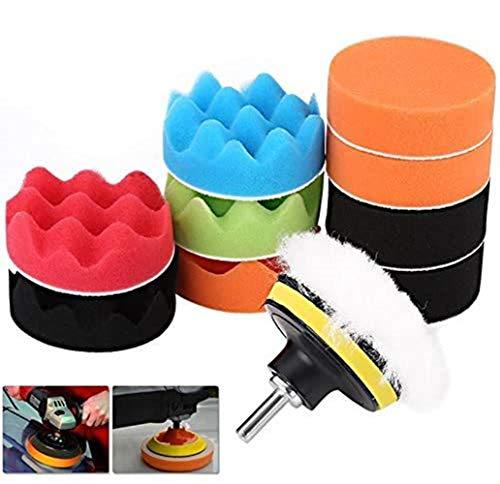 Voarge - Esponja de pulido para coche, juego de discos de pulido de 7,62 cm, para máquina pulidora, adaptador de pulido, juego de 11 piezas
