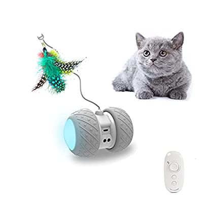 PetDroid Boltz Robotic Cat Toy Interactive,Attached with Feathers/Birds/Mouse Toys for Cats/Kitten,Large Capacity Battery/All Floors Available (Grey) (Grey)