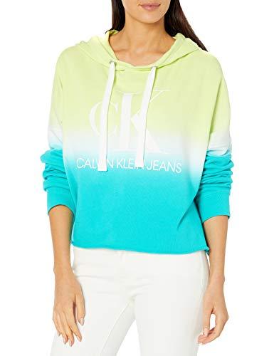 Calvin Klein Women's Dip Dye Logo Hoodie Sweatshirt, Limoncello Combo, Medium
