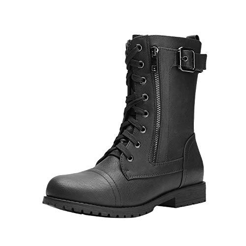 DREAM PAIRS Women's New Mission Black Combat Mid Calf Boots Size 8.5 B(M) US