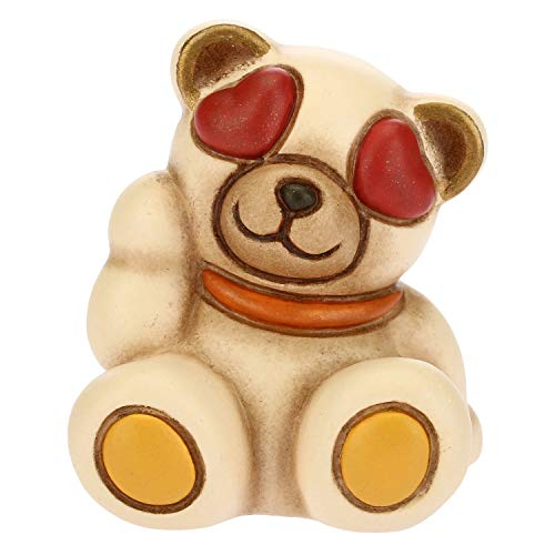 THUN - Teddy Emoticon Innamorato - Idea Regalo - Linea Teddy Emoticon - Formato Mini - Ceramica - 3,8x3,6x4,3 h cm