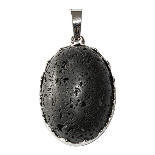 Beads Ok, DIY, 26mm Gewölbte Ovale Natürlicher Schwarz Vulkan Lava Mineralien Schmuck Edelstein Anhänger x 1 Stück.