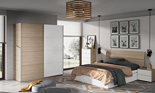 Miroytengo Lote de mobiliario Completo para Dormitorio Matrimonio 150 cm Color Blanco y Nature con somier