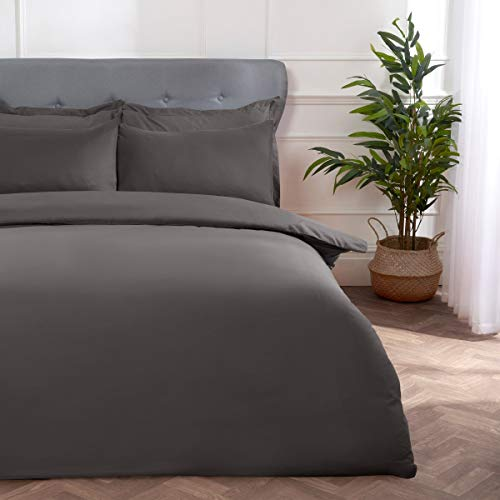 Sleepdown Block Microfiber Plain Dye Duvet Cover Quilt Bedding Set with Pillowcases Easy Care Soft Warm Cosy - King - Grey