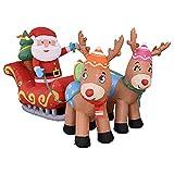 Dongzhi Papá Noel hinchable de 213 cm, con trineo de renos y caja de regalo, decoración de yard – luces LED con saltos, decoración para Navidad, exterior, jardín, casa, familia