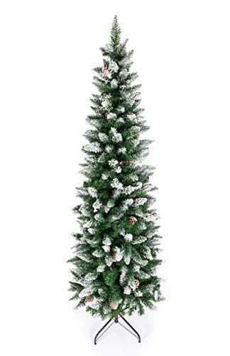 Artificial Pencil Christmas Tree,Snow Flocked Trees with Pine Cone Decoration Unlit 5/6/7/7.5 FT