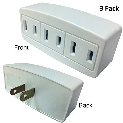 3 Outlet Polarized Power Tap Plug Adapter - 15 Amp, 125-Volt - White - 3 PACK