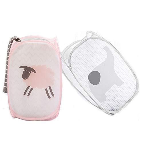 Foldable&Durable Mesh Pop-Up Laundry HamperKids Collapsible Laundry Basket Clothes Storage with Side Pocket Toys Organizer for BabyBedroom 2 Packs-ElephantSheep