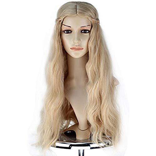 Rzf Peluca de Cosplay de Cersei Lannister Fibra sinttica Natural cmoda Transpirable telescpica Ajustable Estiramiento Peluca de Pelo Trenzado sinttico Ondulado Largo y Rizado para Mujer,Oro