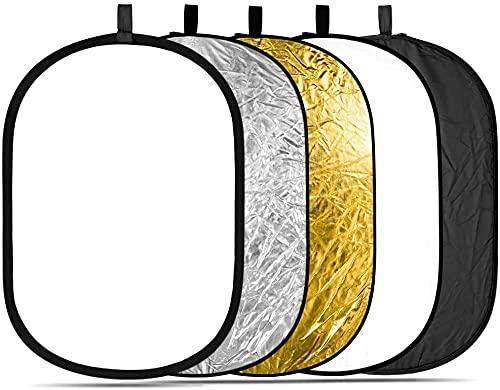 5 in 1 折りたたみ式スタジオレフ板 楕円レフ板 マルチレフ板80 x 120 cm