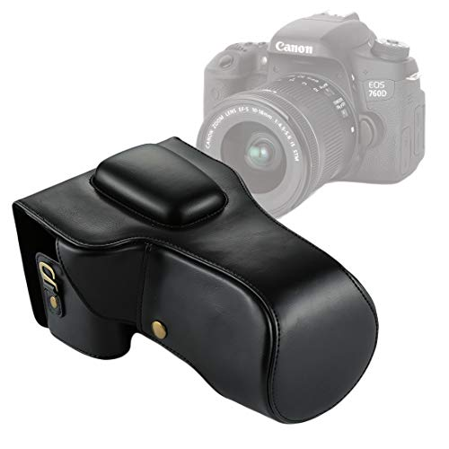 ZZjingli Accessories Pleine BOÎTIER PU Sac en Cuir for Canon EOS 760D / 750D (Objectif 18-135mm) (Noir) (café) (Brown) (Couleur : Black)