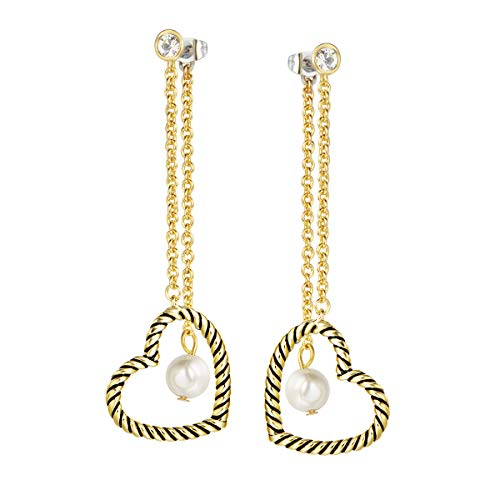 UNY Drop Dangle Earrings Designer Brand Inspired Jewelry Heart Pearl Twisted Cable Wire...