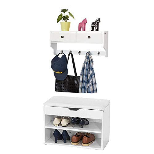 SoBuy Banco Zapatero con Perchero,Mueble recibidor,Blanco,