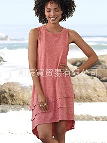 Abkaeh Estilo de Vacaciones Europeo y Americano Casual Playa de Las Mujeres torreta de algodón sin Mangas Vestido de Cuello Redondo en Capas GY-71-pink_XXL