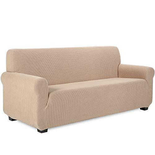TIANSHU Funda de sofá 3 plazas Tejido Jacquard de poliéster y Elastano Fundas de sofá Suaves duraderas(3 plazas,Arena )