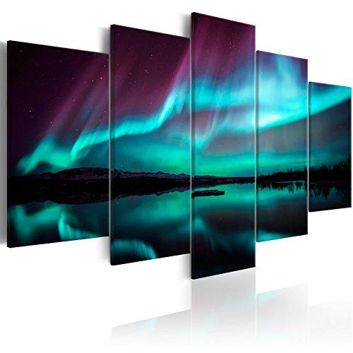 murando - Bilder Polarlicht 200x100 cm - Vlies Leinwandbild 5 Teilig Kunstdruck modern Wandbilder XXL Wanddekoration Design Wand Bild - Nordlicht Island Nacht c-B-0290-b-n
