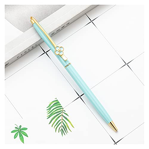 Metal Four Leaf Clover Ballpoint Pens Clip Clip de Escritura Manija Plumas Firma Signature Secure Supplies Black Tinta 1.0mm Kawaii Regalo para Estudiantes, jóvenes (Color : Green)