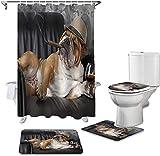 JZDH Duschvorhänge Sets Rauchen H& Bulldoggen Gemütlich Sofa Duschvorhang Sets rutschfeste Teppiche WC Deckelabdeckung & Bad Matte wasserdichte Badezimmer Gardinen 180x180cm (71x71in)