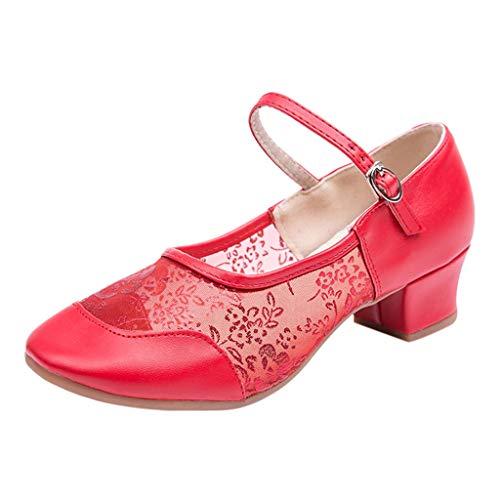 Damen Tanzschuhe Latein Tango Salsa Schuhe Blockabsatz Elegante Pumps Brautschuhe mit Riemchen Geschlossen Celucke (Rot, EU37)