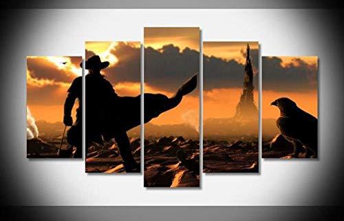72Tdfc 5 Panel Leinwand Wandkünstler Home Decoration Poster Druck Moderne Ölgemälde Dekoration 150 * 80 cm Der Dunkle Turm - Film