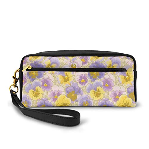 Pencil Case Pen Bag Pouch Stationary,Hand Drawn Pansy Flowers Garden Botanical Artistic Watercolor Pattern,Small Makeup Bag Coin Purse