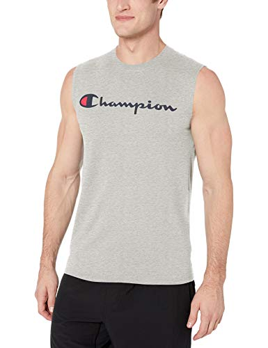 Champion Men's Graphic Jersey Muscle, Oxford Gray, Small