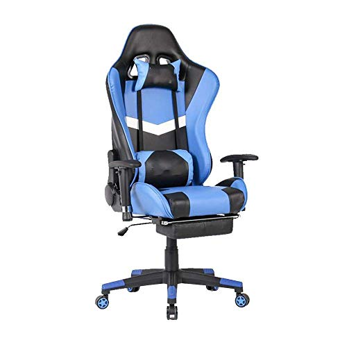 WSDSX Gaming Chair ,Office Chair Computer High Back Computer Chair Office Chair Adjustable Swivel Task Chair Racing Ergonomic Chair with Headrest and Lumbar Support (Color : Blue)