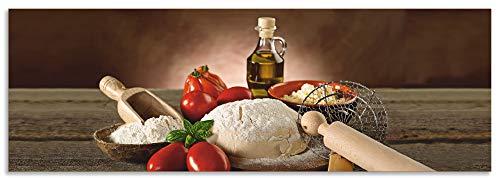 Artland Spritzschutz Küche aus Alu für Herd Spüle 150x50 cm Küchenrückwand mit Motiv Essen Lebensmittel Italien Pizza Tomaten Teig Mediterran T5UZ