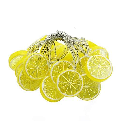 Guirnalda de luces LED con rodajas de limón, simulación de fruta, funciona con pilas, decoración para terraza, valla, balcón, camping (amarillo, 3 m/20 LED)