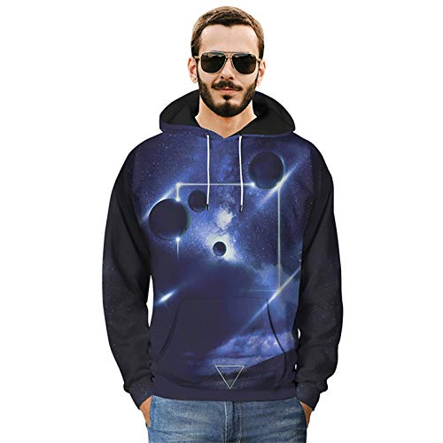Shirt Gym Muscle a Maniche Lunghe da Uomo Fitness Allenamento Abbigliamento Moto Creativo Starry Sky Planet Modello Stampa Casual Jacket Hoodie (Size : 2XL)