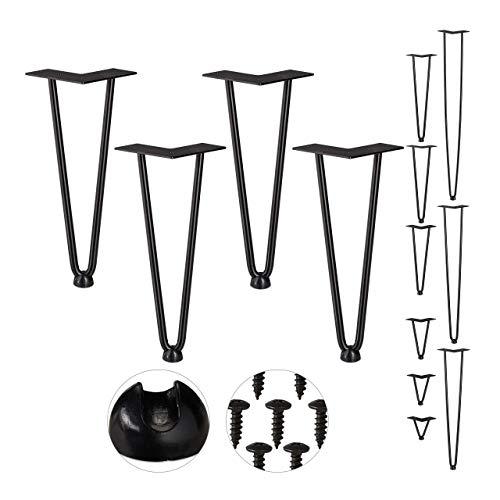 Relaxdays Hairpin Legs, 4er Set, 2 Streben, Metall, Haarnadel Tischbein für Hocker, Tisch & Schrank, 30 cm hoch, schwarz