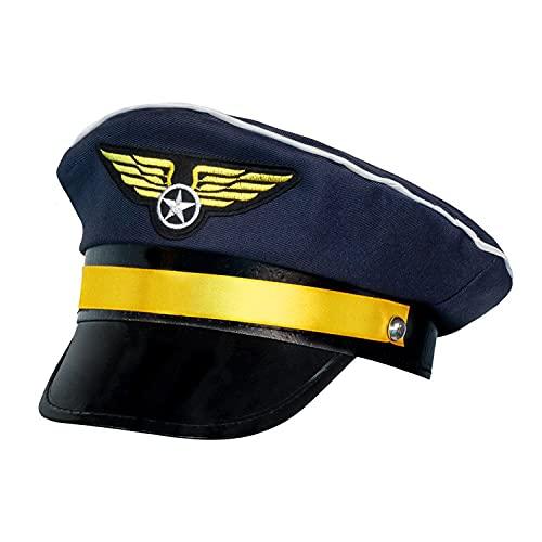 Boland 01253 - Pilotenmütze für Erwachsene, Größenverstellbar, Dunkelblau mit Gold, Kapitän, Flieger, Beruf, Motto Party, Karneval
