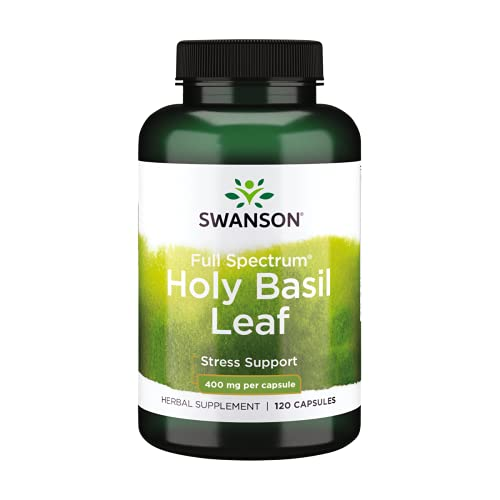 Swanson Holy Basil Leaf (Tulsi) - Stress Support and Emotional Well-Being Supplement - May Support Blood Glucose Levels Within The Normal Range - (120 Capsules, 800mg Each)