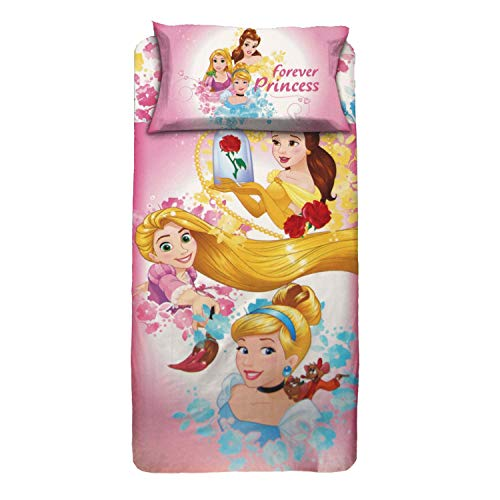 Personajes - Juego completo de cama Disney Princess de una plaza, de algodón, sábana encimera y fundas de almohada original – Individual