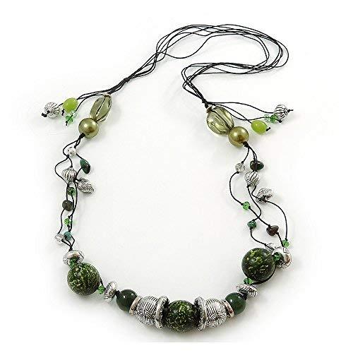 Long Green-Collana con perle in vetro e legno, su cordoncino in cotone, espandibili 112 cm, lunghezza: 147 cm