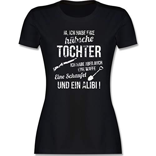 Muttertagsgeschenk - Ich Habe eine hübsche Tochter - L - Schwarz - hab eine hübsche Tochter t Shirt - L191 - Tailliertes Tshirt für Damen und Frauen T-Shirt