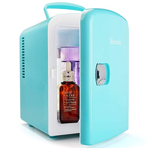 AstroAI Mini Fridge 4 Liter/6 Can AC/DC Portable Thermoelectric Cooler and Warmer for Skincare, Breast Milk, Foods, Medications, Bedroom and Travel, Teal (Renewed)