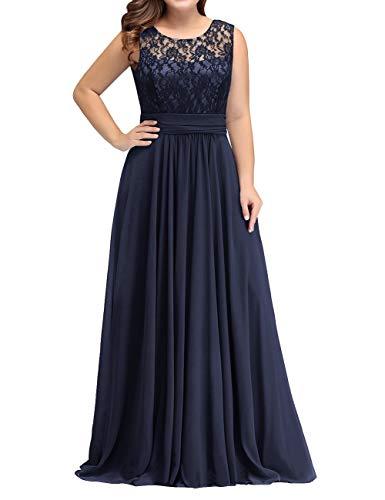 HUINI Abendkleid Damen Spitzen Ballkleid Brautmutterkleider Lang Hochzeitskleid Ärmellos Standesamt Maxikleider Navy 40