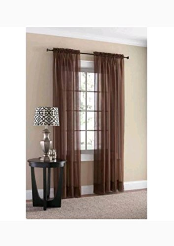 Mainstays Marjorie Sheer Voile Curtain Panel Warm Chocolate 59X63 6469